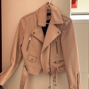 Pink Zara cropped moto jacket